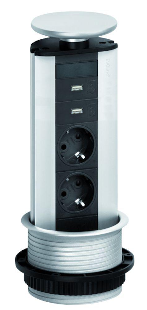 evoline powerport 2st stopcontact met usb lader schulte